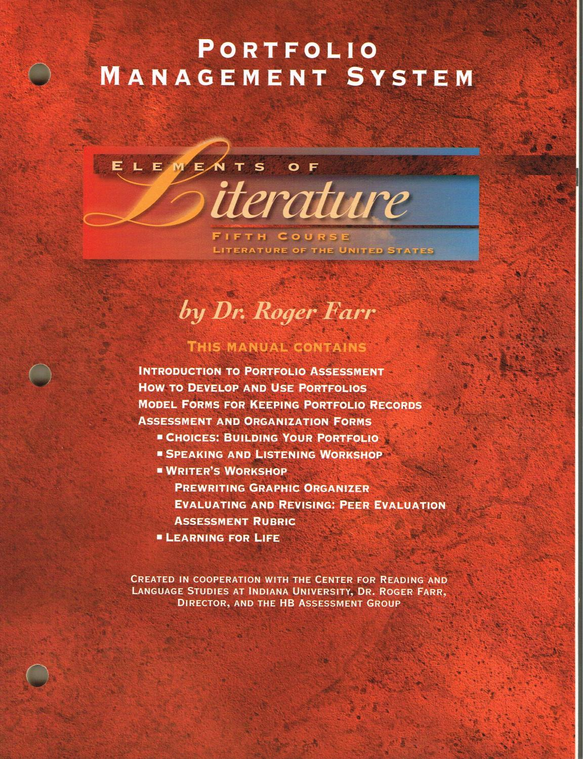 ELEMENTS OF LITERATURE - Fifth Course, Literature of The United States: PORTFOLIO MANAGEMENT SYSTEM - Farr, Roger