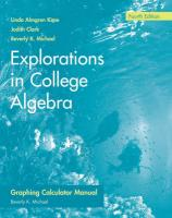 Explorations in College Algebra, Graphing Calculator Manual