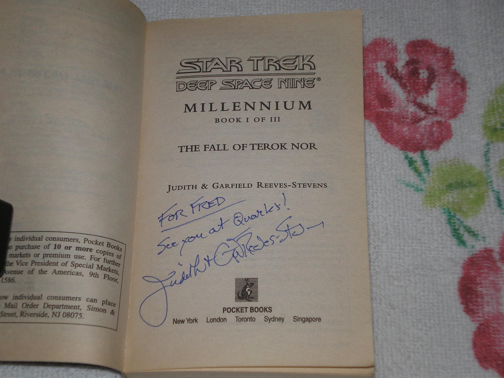 Millennium: The Fall Of Terok Nor Bk. 1 (Star Trek: Deep Space Nine): Signed - Reeves-Stevens, Judith; Reeves-Stevens, Garfield; Judith