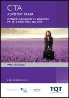 CTA - Taxation of Owner Managed Business Fa 2010: Workbook - BPP Learning Media