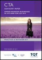 CTA - Taxation of Owner Managed Business Fa 2010: Revision Kit - BPP Learning Media
