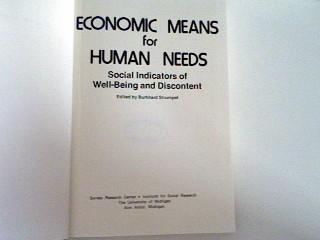 Economic Means for Human Needs: Social Indicators of Well-Being and Discontent - Strumpel, Burkhard