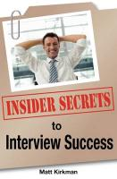Insider Secrets to Interview Success - Kirkman, Matt