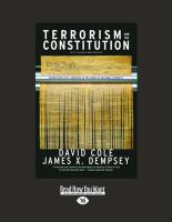 Terrorism and the Constitution: Sacrificing Civil Liberties in the Name of National Security (Large Print 16pt) - Cole, David