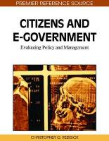 Citizens and E-Government: Evaluating Policy and Management - Reddick, Christopher G.