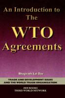 An Introduction to the Wto Agreements - Lal Das, Bhagirath; Das, Bhagirath Lal
