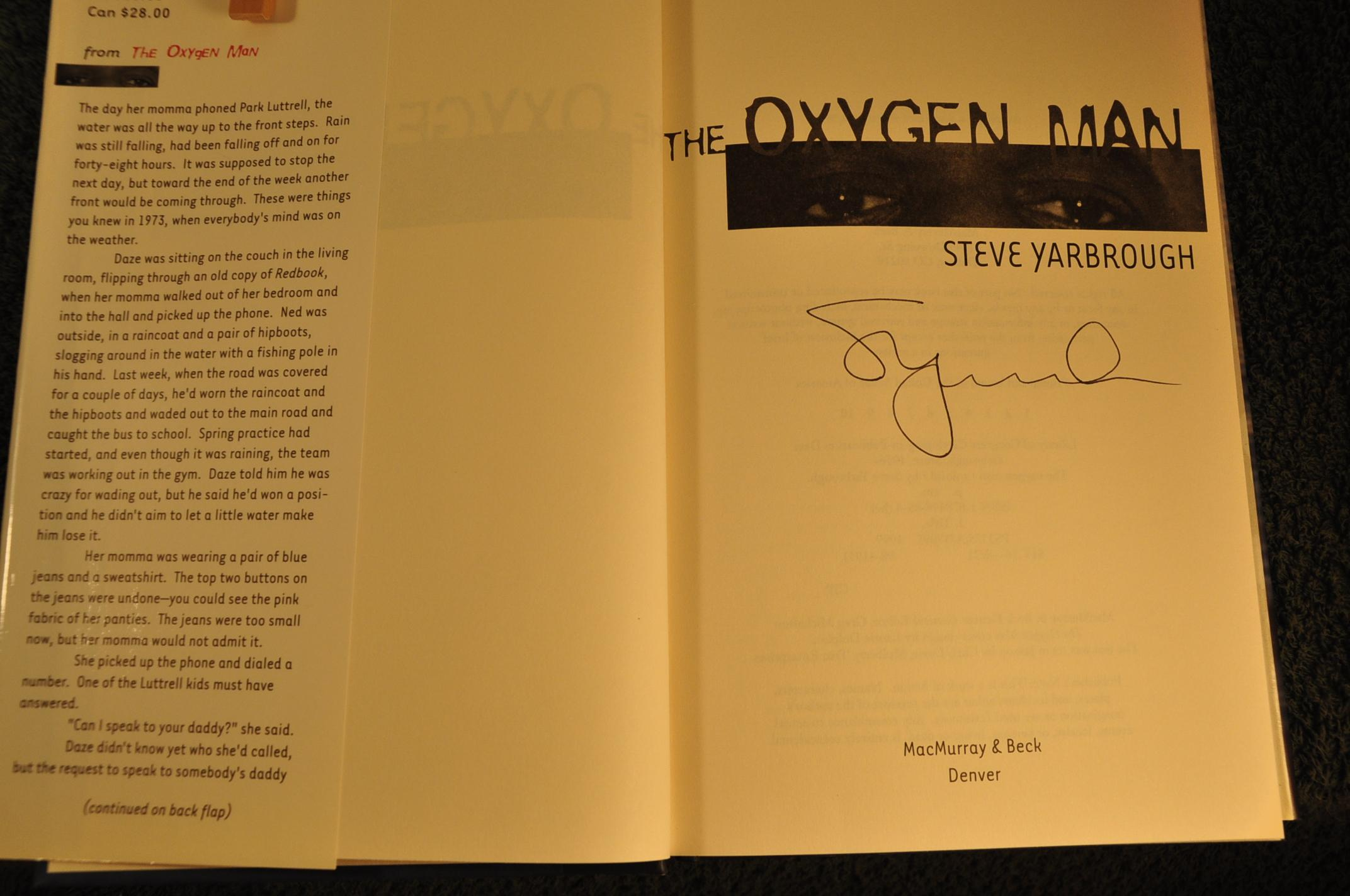 The Oxygen Man **SIGNED** - Yarbrough, Steve
