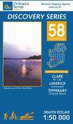 Irish Discovery Series 58. Clare, Limerick, Tipperary 1 : 50 000