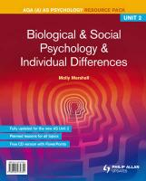 Aqa(a) as Psychology Unit 2, . Biological & Social Psychology and Individual Differences