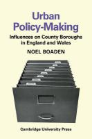 Urban Policy-Making: Influences on County Boroughs in England and Wales