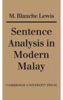 Sentence Analysis in Modern Malay