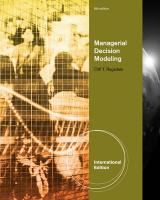 Managerial Decision Modeling. Cliff Ragsdale