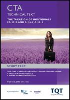 CTA - The Taxation of Individuals Fa 2010: Study Text