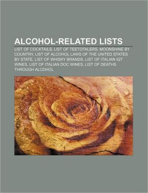 Alcohol-related lists: List of cocktails, List of teetotalers, Moonshine by country, List of alcohol laws of the United States by state