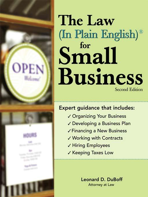 Law (In Plain English)® for Small Business als eBook von Leonard D DuBoff - Sourcebooks
