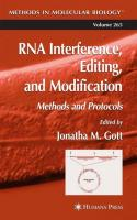 RNA Interference, Editing, and Modification: Methods and Protocols