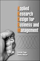 Applied Business Research Design for Business and Management - Page