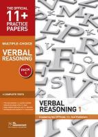11+ Practice Papers, Verbal Reasoning Pack 1, Multiple Choice: Test 1, Test 2, Test 3, Test 4 (The Official 11+ Practice Papers)