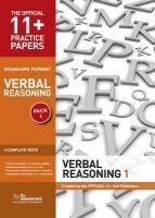 11+ Practice Papers, Verbal Reasoning Pack 1, Standard Forma