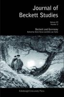 Beckett and Germany: Journal of Beckett Studies Volume 19, Number 2 Mark Nixon Editor