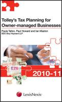 Tolley's Tax Planning for Owner-Managed Businesses 2010-11 - Tallon, Paula