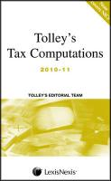 Tolley's Tax Computations. - Tolley Editorial Team