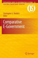 Comparative E-Government Christopher G. Reddick Author